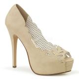 krem kunstlær 13,5 cm BELLA-30 dame pumps sko med åpen tå