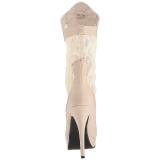 krem kunstlær 13,5 cm CHLOE-115 store størrelser ankelstøvletter dame