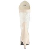 krem kunstlær 7,5 cm DIVINE-1050 store størrelser ankelstøvletter dame
