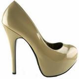 krem lakk 14,5 cm Burlesque BORDELLO TEEZE-06 platå pumps høy hæl