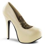 krem matt 14,5 cm BORDELLO TEEZE-06 platå pumps høy hæl