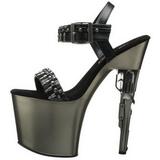 krom 19 cm BONDGIRL-712 platå sko med håndvåpen hæler