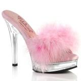 kunstlær 13,5 cm MAJESTY-501F-8 rosa mules høye hæler marabou fjær