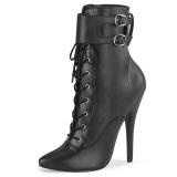 kunstlær 15 cm DOMINA-1023 svarte ankelstøvletter med stiletthæl