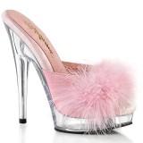 kunstlær 15 cm SULTRY-601F rosa mules høye hæler marabou fjær