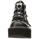kunstlær 5 cm DEMONIA EMILY-315 gothic ankelstøvler med spenner