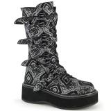 kunstlær 5 cm EMILY-322-2 høye platåstøvler til dame med spenner