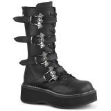 kunstlær 5 cm EMILY-322 høye platåstøvler til dame med spenner