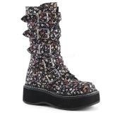 kunstlær 5 cm EMILY-340 høye platåstøvler til dame med spenner