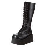kunstlær 8,5 cm TRASHVILLE-502 Svarte punk boots med snøring menn