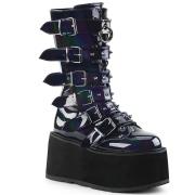 kunstlær 9 cm DAMNED-225 høye platåstøvler til dame med spenner