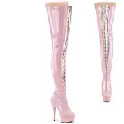 lakklær 15 cm DELIGHT-3027 rosa lårhøye støvler med snøring
