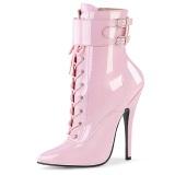 lakklær 15 cm DOMINA-1023 rosa ankelstøvletter med stiletthæl