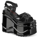 lakklær 15 cm Demonia WAVE-09 lolita platå sandaler med kilehæler