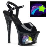 lakklær 18 cm MOON-709RSS høyhælte sandaler neon platå