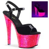 lakklær 18 cm SKY-309UVLG høyhælte sandaler neon platå