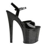lakklær 19 cm Pleaser TABOO-709MG glitter sko med høye hæler