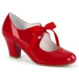 lakklær rød 6,5 cm WIGGLE-32 retro vintage maryjane pumps med blokkhæl