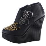 leopard kunstlær CREEPER-306 wedge creepers sko med kilehæler