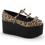 leopard lerret 8 cm CLICK-08 lolita sko gothic platåsko tykke såler