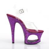 lilla 18 cm MOON-708LG glitter platå høye hæler dame