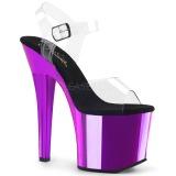 lilla 18 cm RADIANT-708CH krom platå høye hæler sko