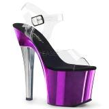 lilla 18 cm RADIANT-708TTCH krom platå høye hæler sko