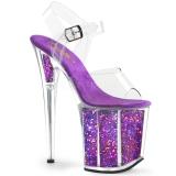lilla 20 cm FLAMINGO-808GF glitter platå høye hæler dame