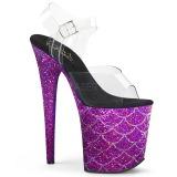 lilla 20 cm FLAMINGO-808MSLG glitter platå sandaler dame