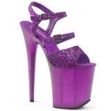lilla 20 cm FLAMINGO-874 glitter platå sandaler dame