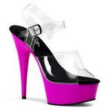 lilla Neon 15,5 cm DELIGHT-608UV platå høye hæler sko