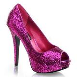 lilla glitter 13,5 cm TWINKLE-18G platå pumps høy hæl peep toe