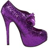 lilla glitter 14,5 cm Burlesque TEEZE-10G platform pumps sko