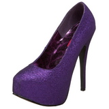 lilla glitter 14,5 cm Burlesque TEEZE-31G platform pumps sko