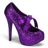 lilla glitter 14,5 cm TEEZE-10G platform pumps sko
