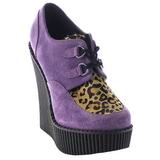 lilla kunstlær CREEPER-304 wedge creepers sko med kilehæler