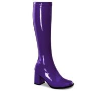 lilla lakkstøvler blokkhæl 7,5 cm - 70 tallet støvler hippie disco gogo - knehøye boots