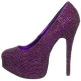 lilla strass 14,5 cm Burlesque TEEZE-06R høye platform pumps sko