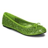 limegrønn STAR-16G glitter ballerinasko dame med flate hæl