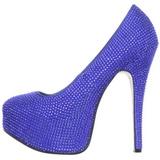 lys blå strass 14,5 cm Burlesque TEEZE-06R høye platform pumps sko