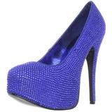 lys blå strass 14,5 cm TEEZE-06R høye platform pumps sko