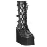matt 14 cm SWING-220 høye platåstøvler til dame med spenner