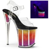 neon 20 cm FLAMINGO-808SRS høyhælte sandaler strass platå