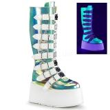neon 9 cm DAMNED-318 høye platåstøvler til dame med spenner