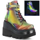 neon regnbue 11,5 cm SHAKER-52 lolita ankelstøvletter kilehæler platå