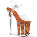 orange 20 cm FLAMINGO-808GF glitter platå høye hæler dame