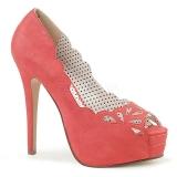 orange kunstlær 13,5 cm BELLA-30 dame pumps sko med åpen tå