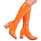 orange lakkert 8,5 cm GOGO-300 høye damestøvler til menn