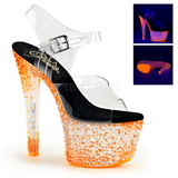 orange neon 18 cm Pleaser CRYSTALIZE-308PS platå høye hæler sko