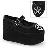 pentagram lerret 8 cm CLICK-02-2 lolita sko gothic platåsko tykke såler